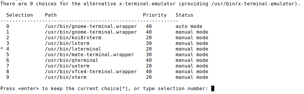 x-terminal-emulator alternatives